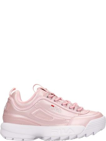Fila Pink Laminated Leather Diustruptor Low Sneakers