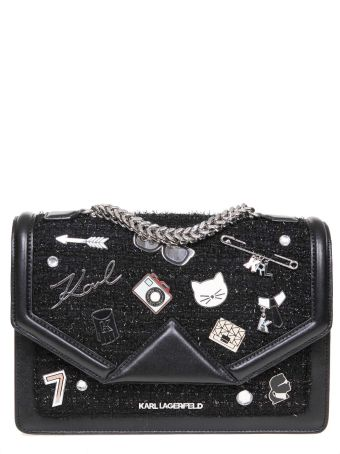 Karl Lagerfeld Shoulder Bag In Leather And Boucle' Color Black