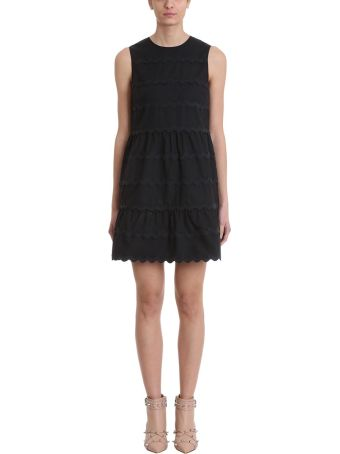 RED Valentino Black Stretch Compact Poplin Dress