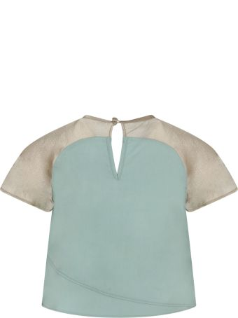 Owa Yurika Green And Beige ''celia'' T-shirt For Girl