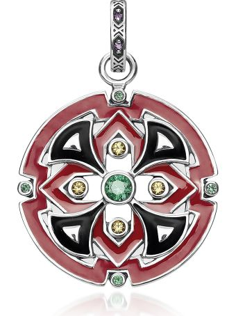Thomas Sabo Blackened Sterling Silver Glass-ceramic Stone And Synthetic Corundum Round Pendant