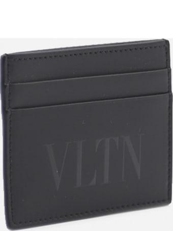 Valentino Garavani Leather Card Holder With Tone-on-tone Logo Print With Glossy Finish