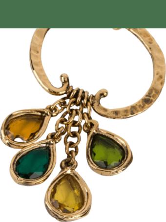 Alberta Ferretti Metal Earrings With Multicolor Crystals