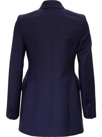Balenciaga Double-breasted Blue Check Wool Blazer