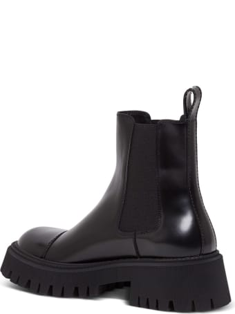 Balenciaga Tractor Boots In Black Leather