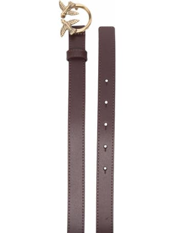 Pinko Love Berry Brown Leather Belt With Logo