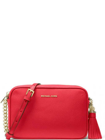 Michael Kors Bright Red Ginny Medium Crossbody Bag