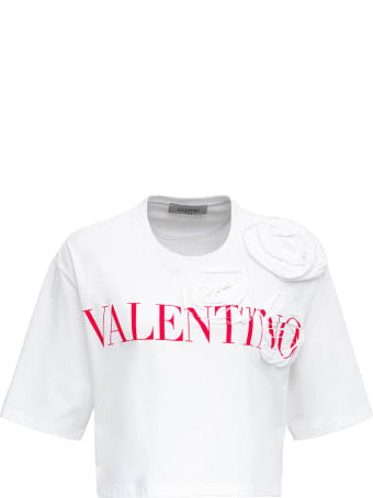Valentino Cropped Rose Blossom Jersey T-shirt