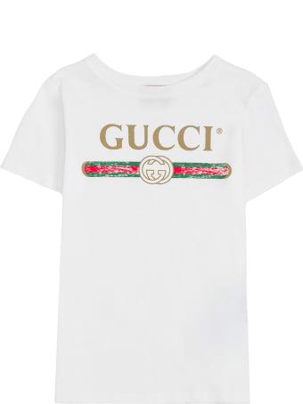 Gucci White Cotton T-shirt With Logo Print