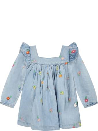 Stella McCartney Kids Light Blue Dress For Baby Girl With Flowers