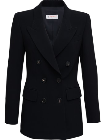 Alberto Biani Double-breasted Jacket In Black Cady