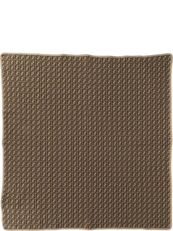 Fendi Beige And Brown Cotton-cashmere Blanket
