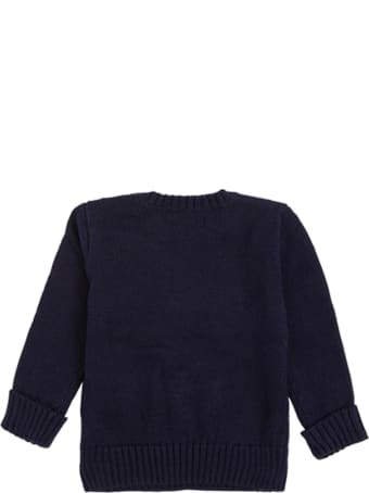Polo Ralph Lauren Blue Cotton Blend Sweater With Logo