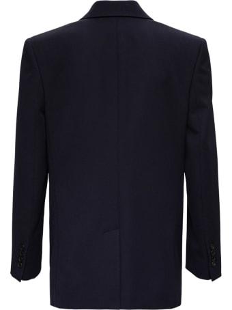 Alexander McQueen Double-breasted Blue Wool Blazer