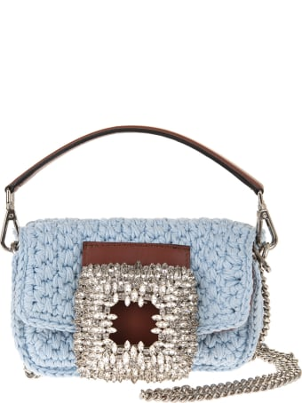 Gedebe Light Blue Small Mia Crochet Bag With Crystals