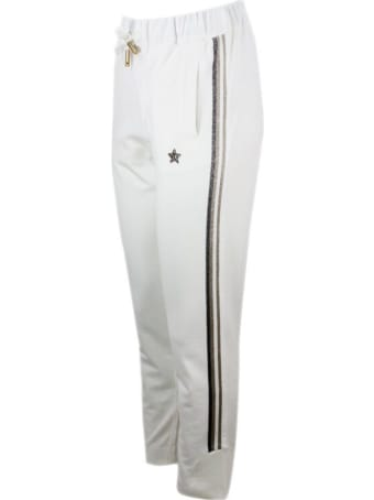 Lorena Antoniazzi Jogging Trousers With Drawstring With Lurex Inserts Along The Leg