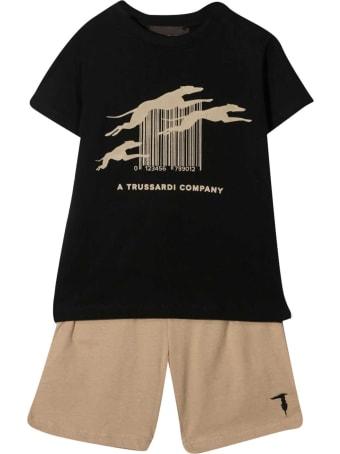 Trussardi Set T-shirt E Shorts Con Stampa