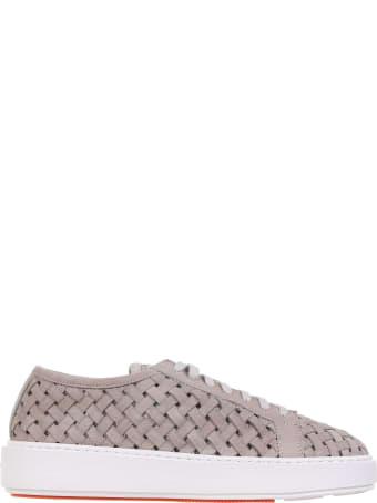 Santoni Braided Nabuk Sneakers