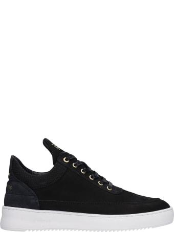 Filling Pieces Low Top Ripple Sneakers In Black Nubuck