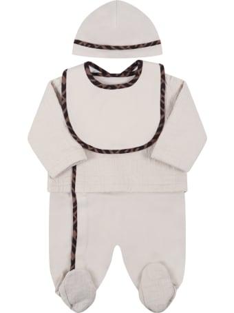 Fendi Beige Set For Babykids With Ff