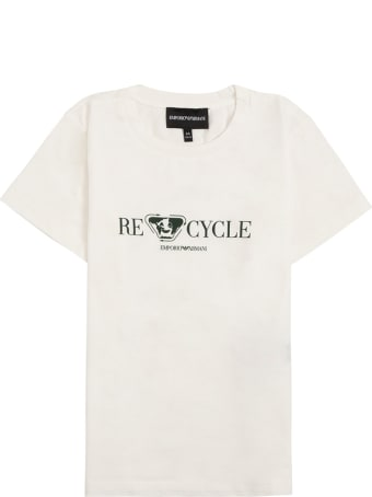 Emporio Armani White T-shirt In Recycled Cotton With Print