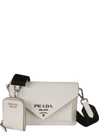Prada Logo Plaque Flap Shoulder Bag
