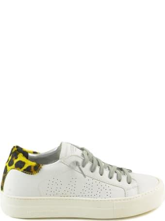 P448 White/yellow Leo Print Leather Women's Flat Sneakers