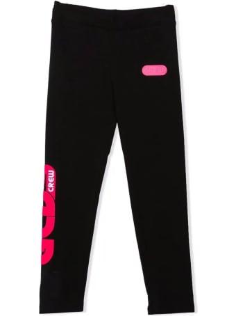 GCDS Black Stretch-cotton Track Trousers