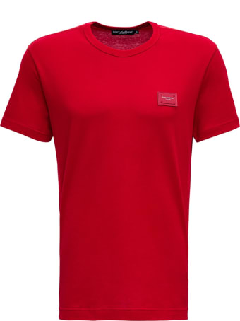 Dolce & Gabbana Red Cotton T-shirt With Logo