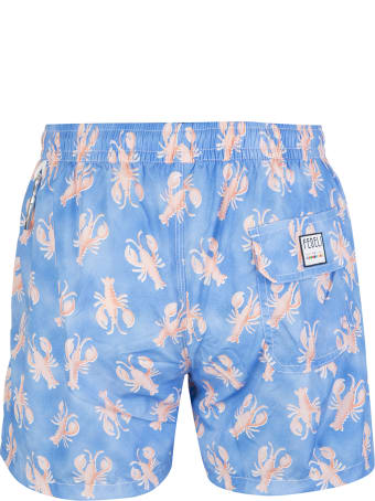 Fedeli Blue And Pink Lobster Madeira Man Swimsuit