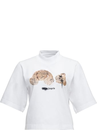 Palm Angels White Cotton Cropped T-shirt With Teddy Bear Print