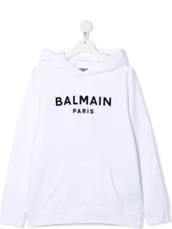 Balmain Kids White Hoodie With Black Velvet Logo