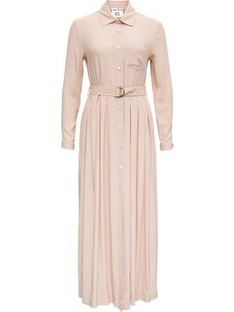 SEMICOUTURE Doris Long Dress In Pink Silk Blend