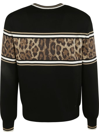 Dolce & Gabbana Stripe Logo Embroidered Ribbed Sweater