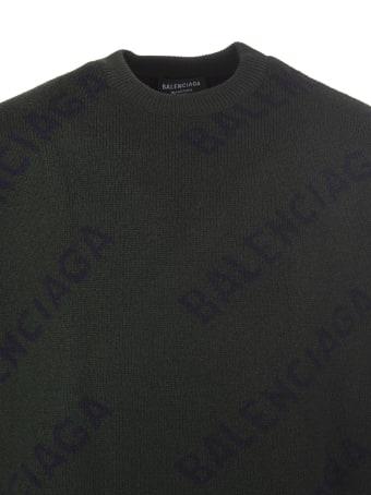 Balenciaga All-over Diag Logo Dark Green And Black Unisex Pullover