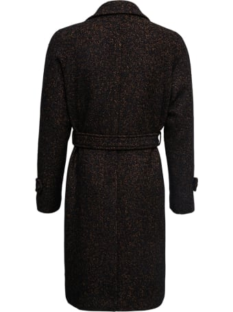 Tagliatore Brown Single Breasted Coat In Bouclet Wool With Belt