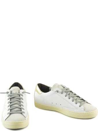 P448 White/gold Leather Women's Flat Sneakers