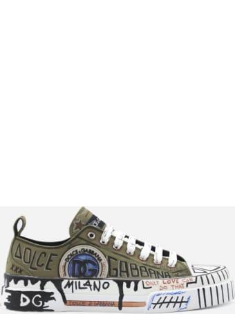 Dolce & Gabbana Portofino Light Sneakers In Canvas With Graffiti Print