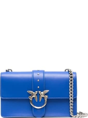 Pinko Love Crossbody Bag In Blue Leather