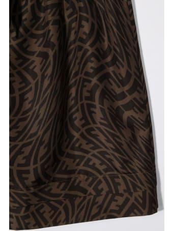 Fendi Ff Brown Nylon Skirt