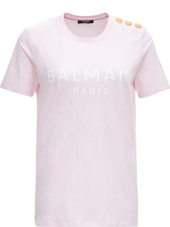 Balmain Cotton T-shirt With Logo Print