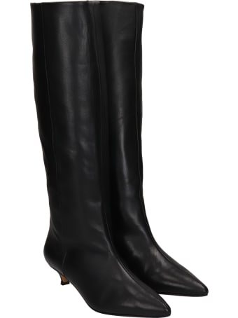 Alchimia Low Heels Boots In Black Leather