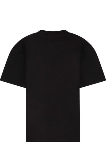 Fendi Black T-shirt With White Logo For Kid