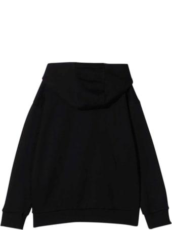 Versace Black Sweatshirt With Hood And Multicolor Print Kids