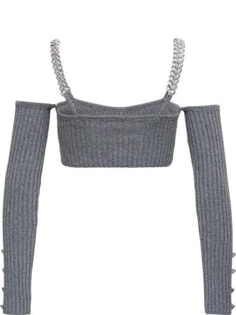 Giuseppe di Morabito Ribbed Knit Top With Chain Straps