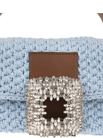 Gedebe Light Blue Medium Mia Crochet Bag With Crystals