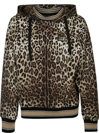 Dolce & Gabbana Stripe Trimmed Leo Print Hooded Sweatshirt
