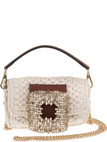 Gedebe Ivory Small Mia Crochet Bag With Crystals