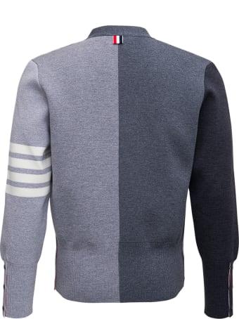 Thom Browne Grey Wool Cardigan With 4bar Detail