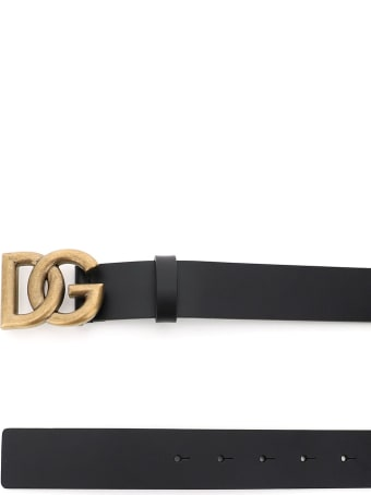 Dolce & Gabbana Lux Leather Belt With Crossed Dg Logo